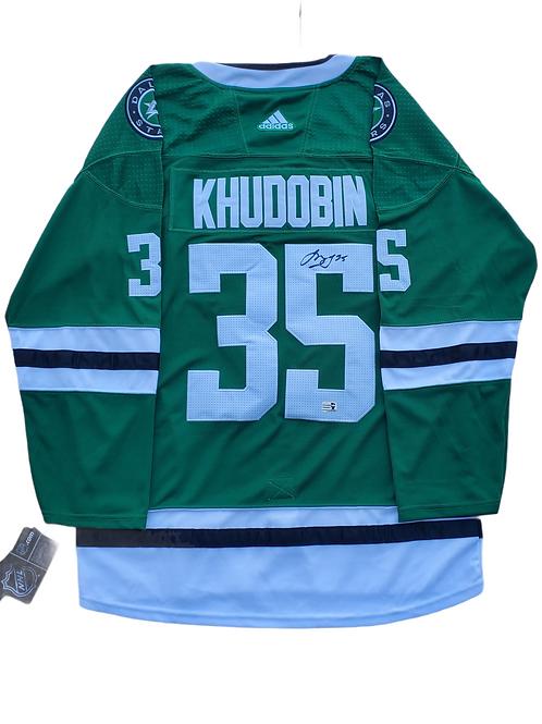Anton Khudobin Dallas Stars signed Adidas Pro Home Jersey