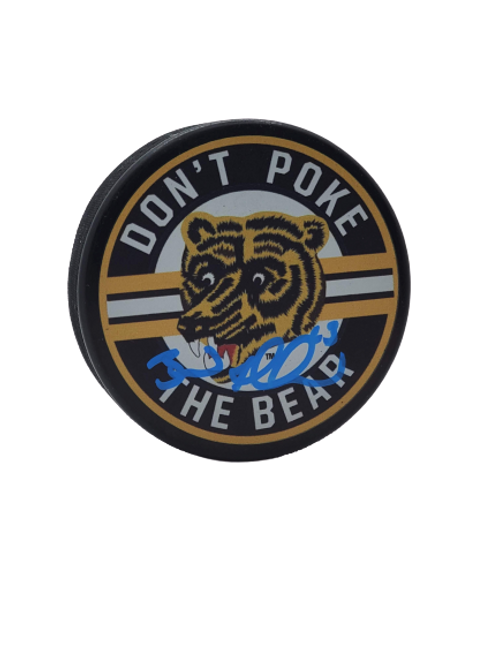 Brad Marchand Boston Bruins signed Dont Poke The Bear puck