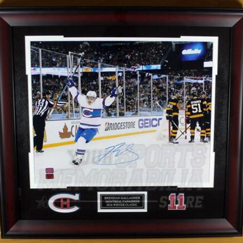 Brendan Gallagher Canadiens Signed Autographed Winter Classic Goal 16x20 Framed