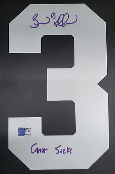 Brad Marchand Boston Bruins signed #3 HFC inscribed Cancer Sucks