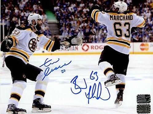 Brad Marchand Zdeno Chara Boston Bruins signed Cup 8x10 / B