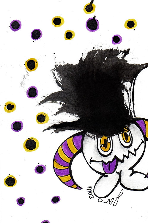 Ink Blot Monster #4 *Matted Print*