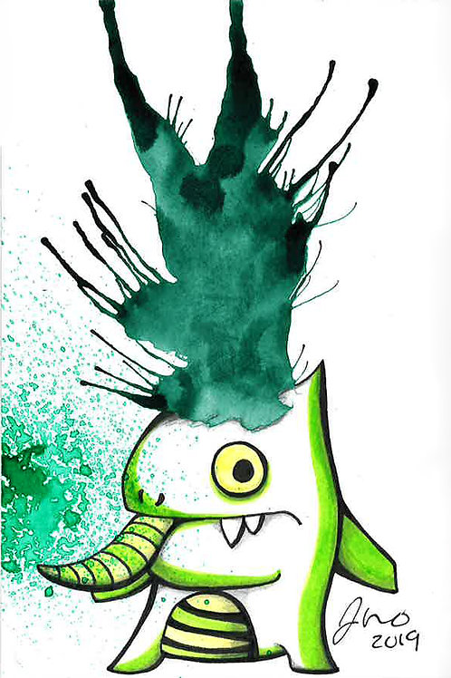 Inkblot Monster #19 *Matted Print*