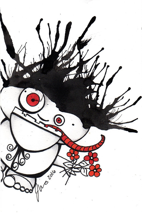 Ink Blot Monster #6 *Matted Print*