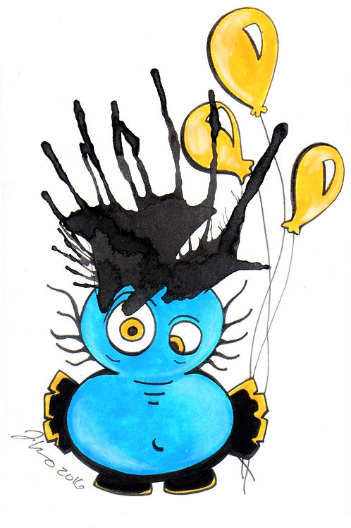 Ink Blot Monster #2 *Matted Print*