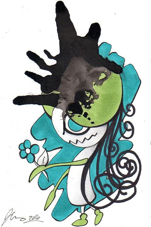 Ink Blot Monster #10 *Matted Print*