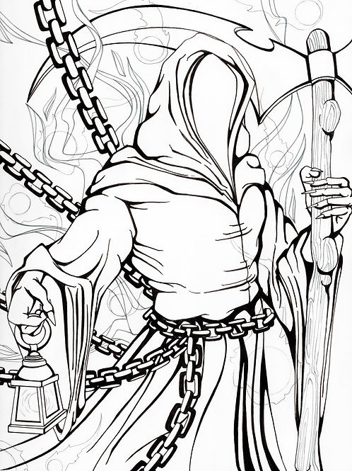 Coloring Book Page - Grim Reaper *Digital Download*