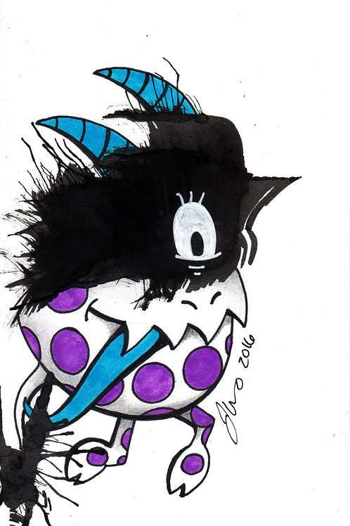 Ink Blot Monster #7 *Matted Print*