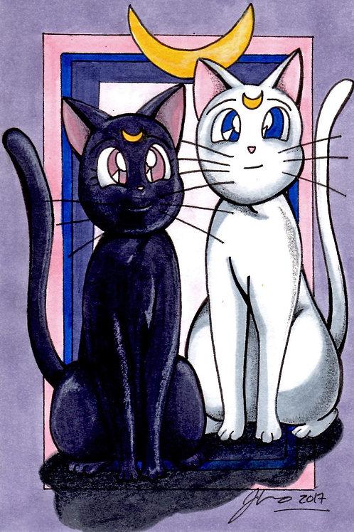 Sailor Moon - Artemis and Luna *Print*