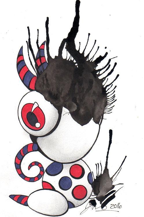 Ink Blot Monster #12 *Matted Print*