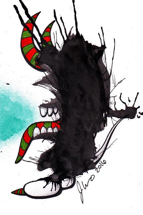 Ink Blot Monster #8 *Matted Print*
