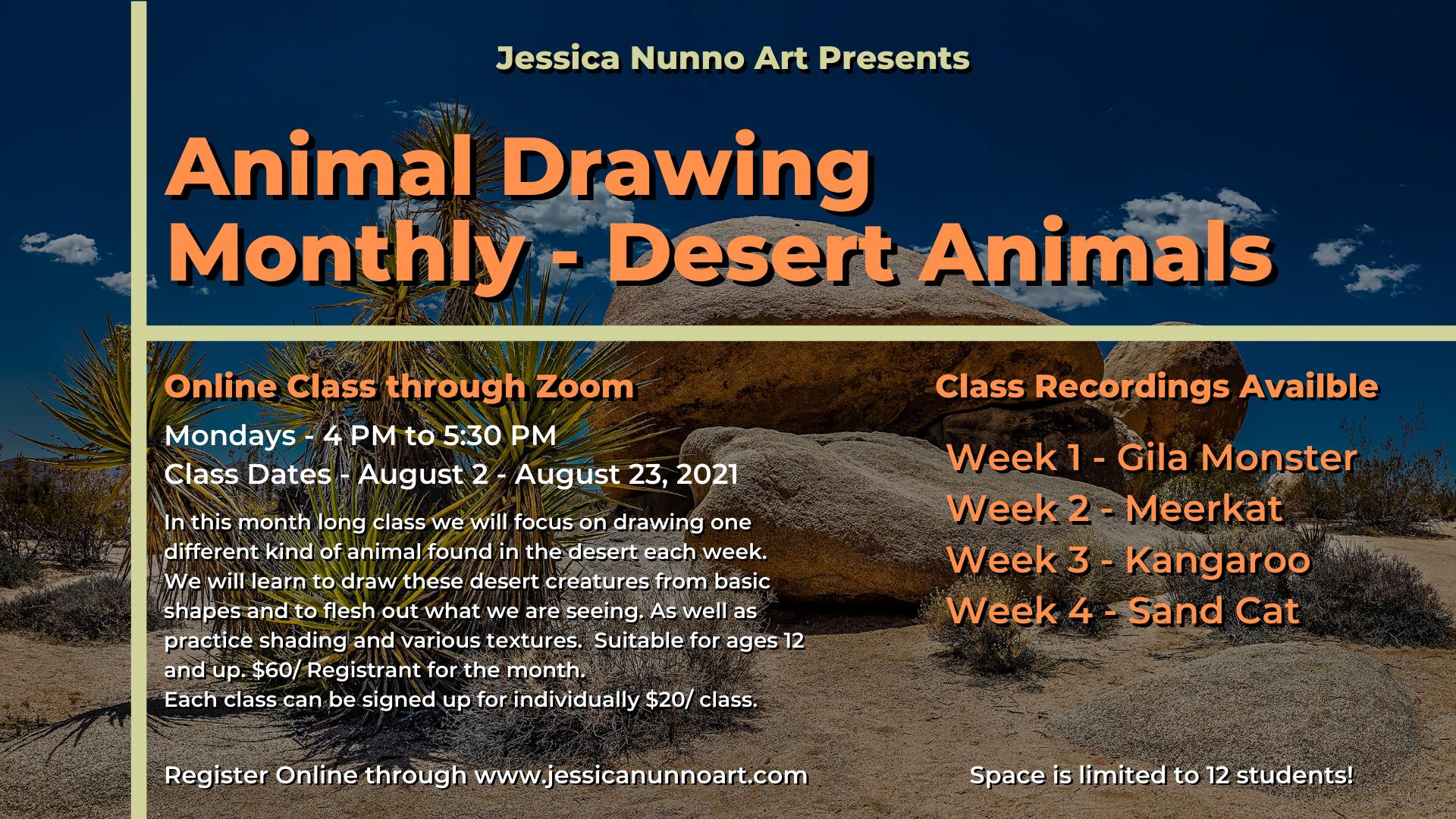 Animal Drawing Monthly - Desert Animals