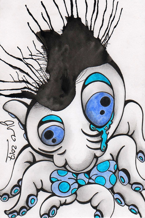 Ink Blot Monster #14 *Matted Print*