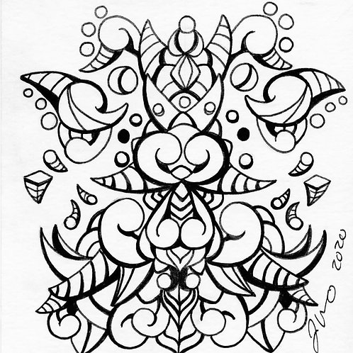 Coloring Book Page Mini - Abstract Design 2