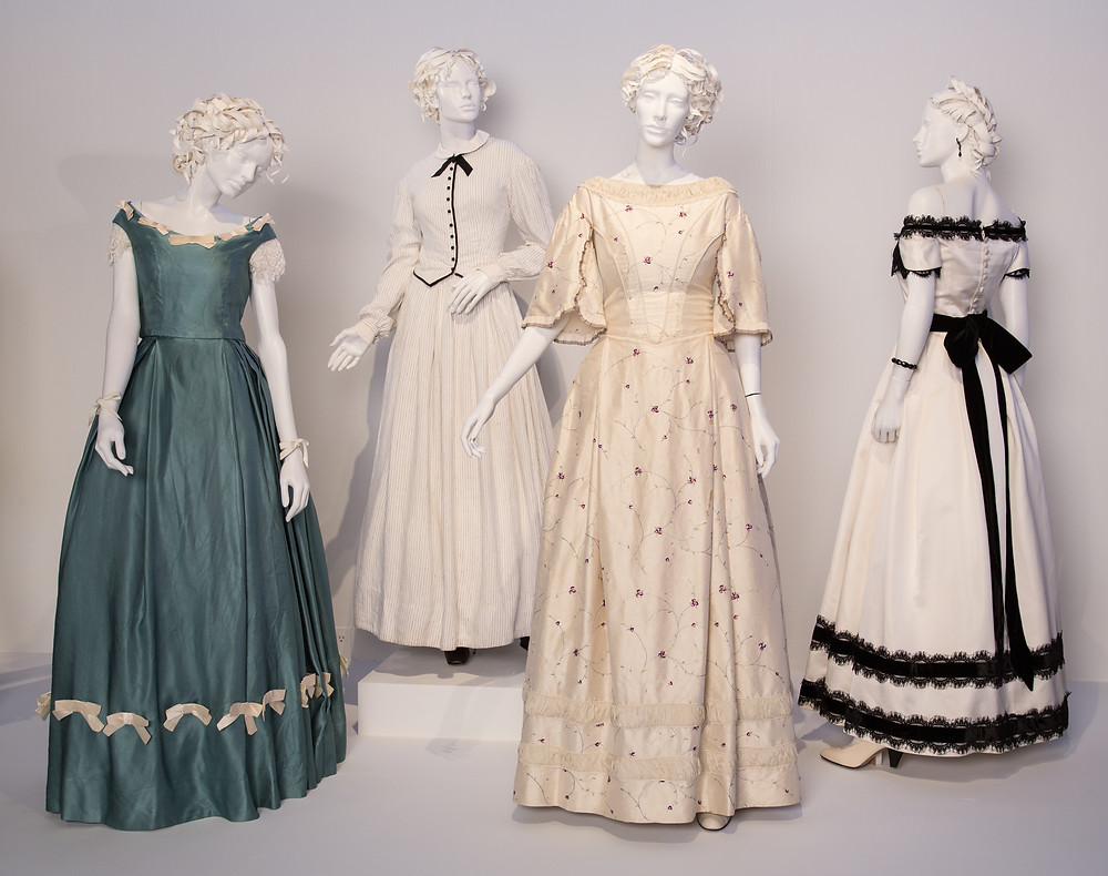 """The Beguiled"" costumes by Stacey Battat. (L to R) Costumes worn by actors: Elle Fanning as Alicia, Nicole Kidman as Miss Martha, Nicole Kidman as Miss Martha, Kirsten Dunst as Edwina"