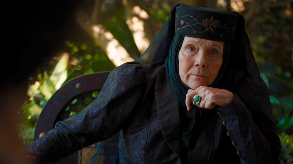 Diana Rigg as Lady Olenna Tyrell on Game of Thrones. Costume Design by April Ferry.