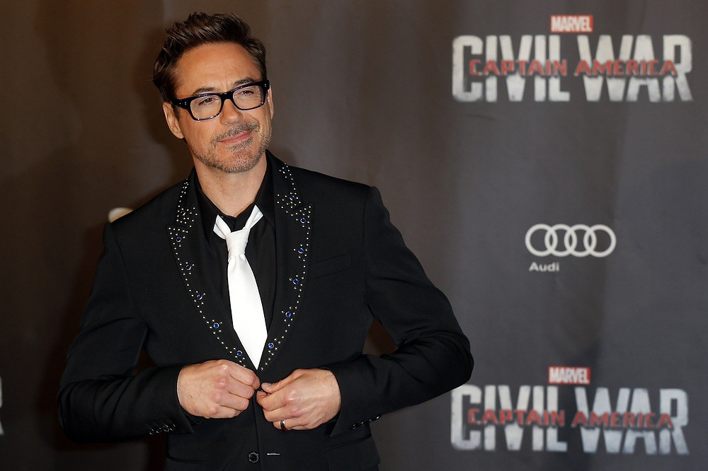Robert Downey Jr. wore a Givenchy jewelled lapel tuxedo jacket to the Captain America: Civil War premiere in Paris. Styled by Jeanne Yang.