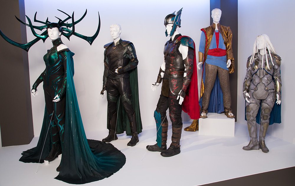 """Thor: Ragnarok"" costumes by Mayes C. Rubeo. (L to R) Costumes worn by actors: Cate Blanchett as Hela, Tom Hiddleston as Loki, Chris Hemsworth as Thor, Jeff Goldblum as Grandmaster, Tessa Thompson as Valkyrie"
