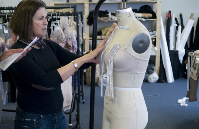 Colleen Atwood working on one of her designs for Snow White and the Huntsman.