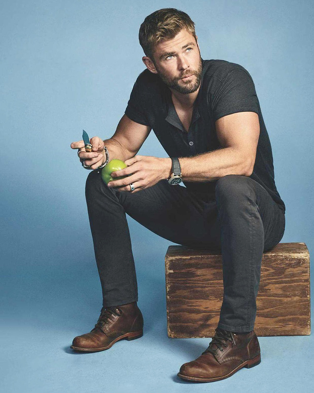 Chris Hemsworth for Men's Journal, November 2017. Wearing a John Varvatos top, Paige denim, and Wolverine boots. Styled by Samantha McMillen.