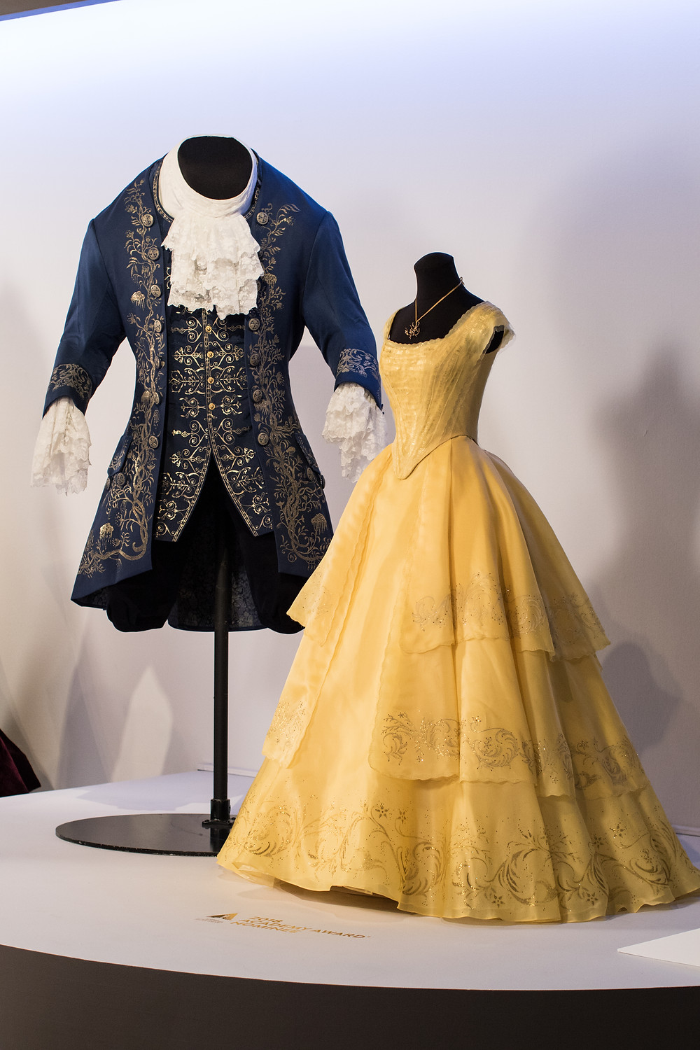 """Beauty and the Beast"" costumes by Jacqueline Durran, Academy Award nominee for Costume Design. (L to R) Costumes worn by actors: Dan Stevens as Beast, Emma Watson as Belle"