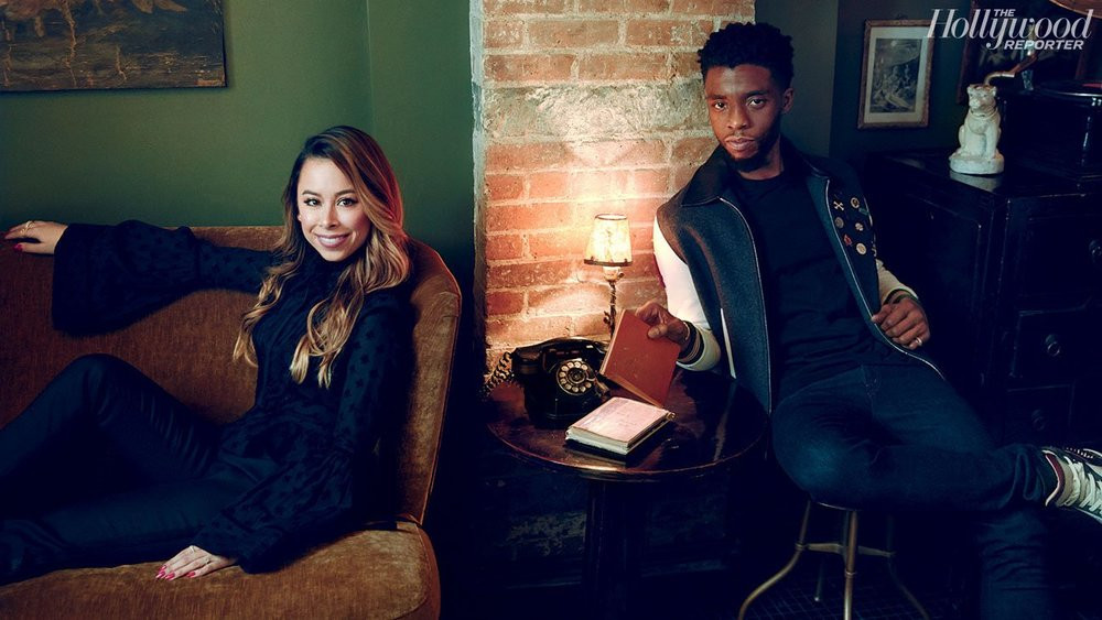 Ashley Weston, stylist, and Chadwick Boseman pose for their Hollywood Reporter cover story.