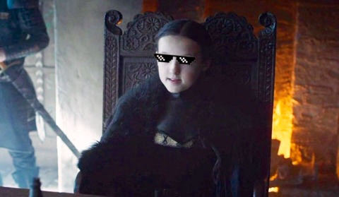 Bella Ramsey as Lyanna Mormont on Game of Thrones. Costume Design by April Ferry. (Sunglasses not included.)