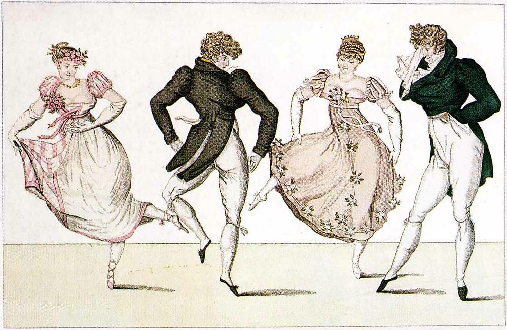 Illustration of Regency evening attire.