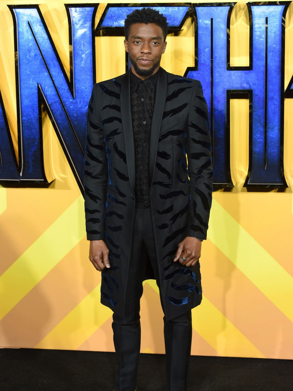 For the London premiere of Black Panther, Chadwick Boseman wore tiger striped Givenchy. Styled by Ashley Weston.
