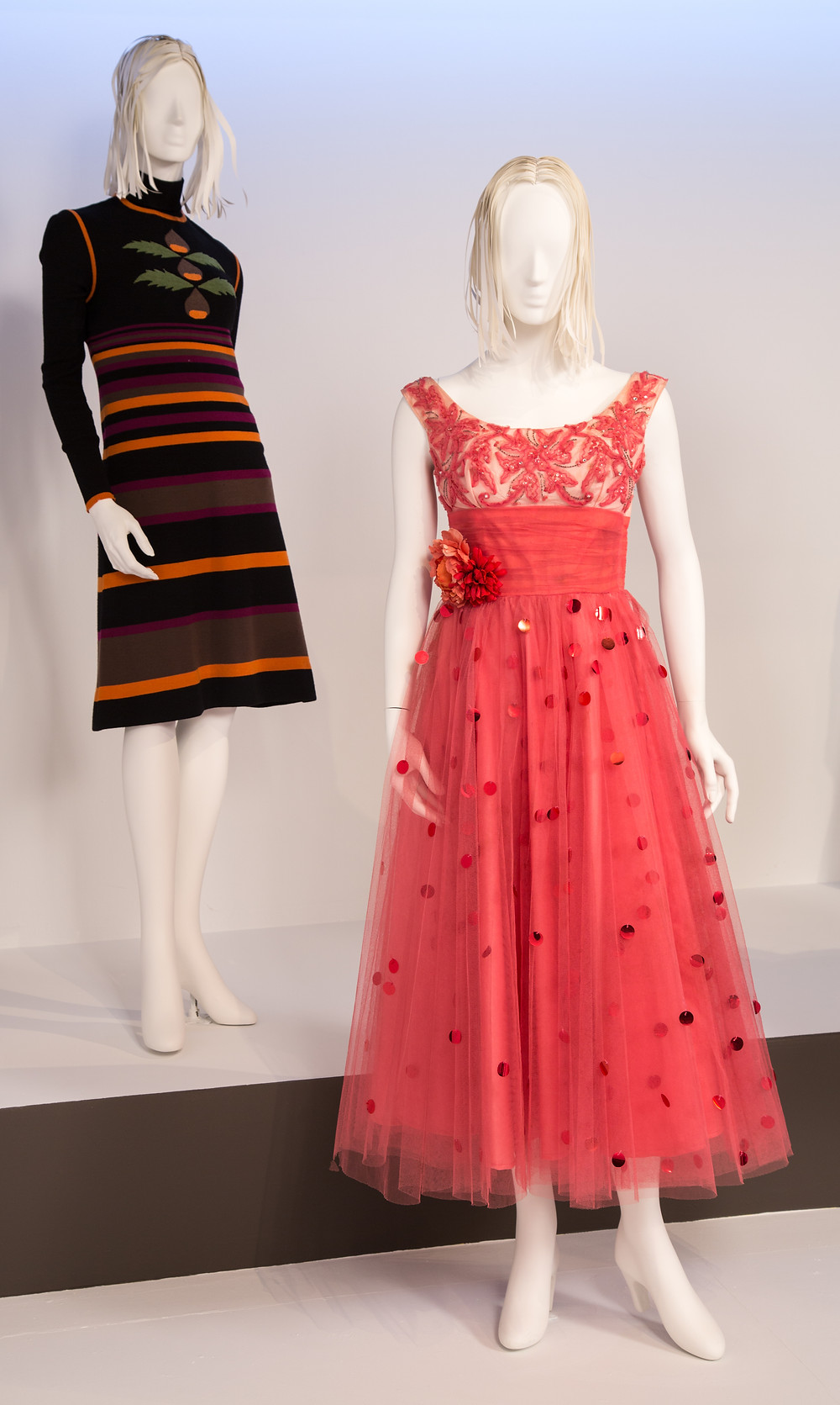 """Lady Bird"" costumes by April Napier. (L to R) Costumes worn by actors: Saoirse Ronan as Christine 'Lady Bird' McPherson, Saoirse Ronan as Christine 'Lady Bird' McPherson"