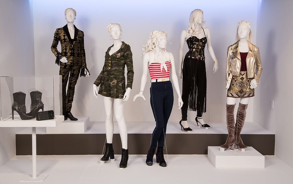 """Pitch Perfect 3"" costumes by Salvador Perez. (L to R) Costumes worn by actors: Ruby Rose as Calamity, Brittany Snow as Chloe, Anna Camp as Aubrey, Hailee Steinfeld as Emily, Anna Kendrick as Beca"