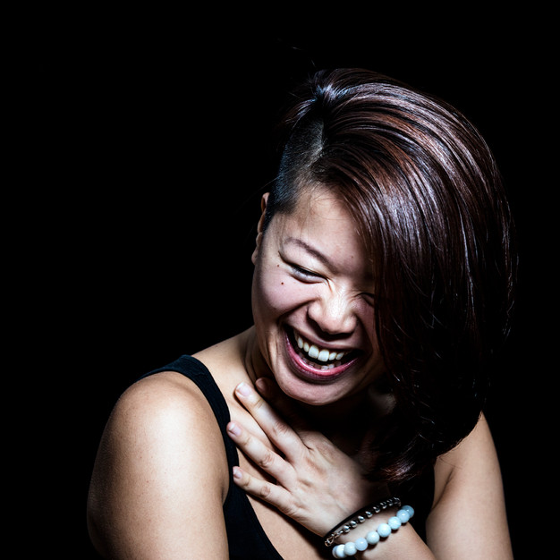 Laughter: which is an expression of relaxation after a great exertion or danger. For women often paired with a hand gesture to protect the most vulnerable main artery in the neck