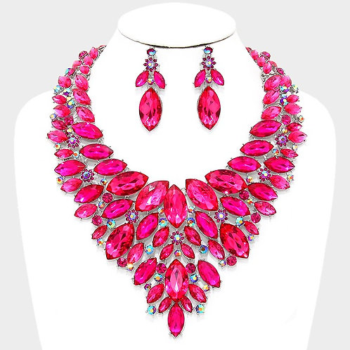 Marquise Crystal Necklace with Earrings