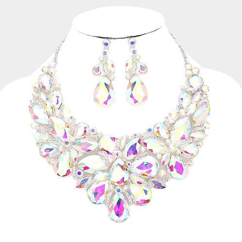 Flower Cluster Crystal Necklace Set