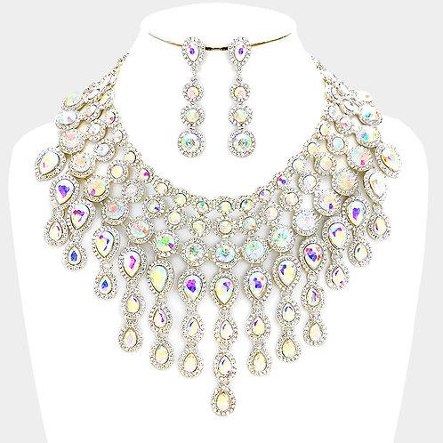 Crystal Fringe Necklace Set