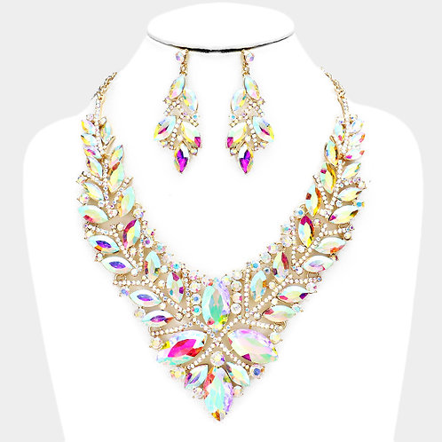 Crystal Cluster Necklace Set
