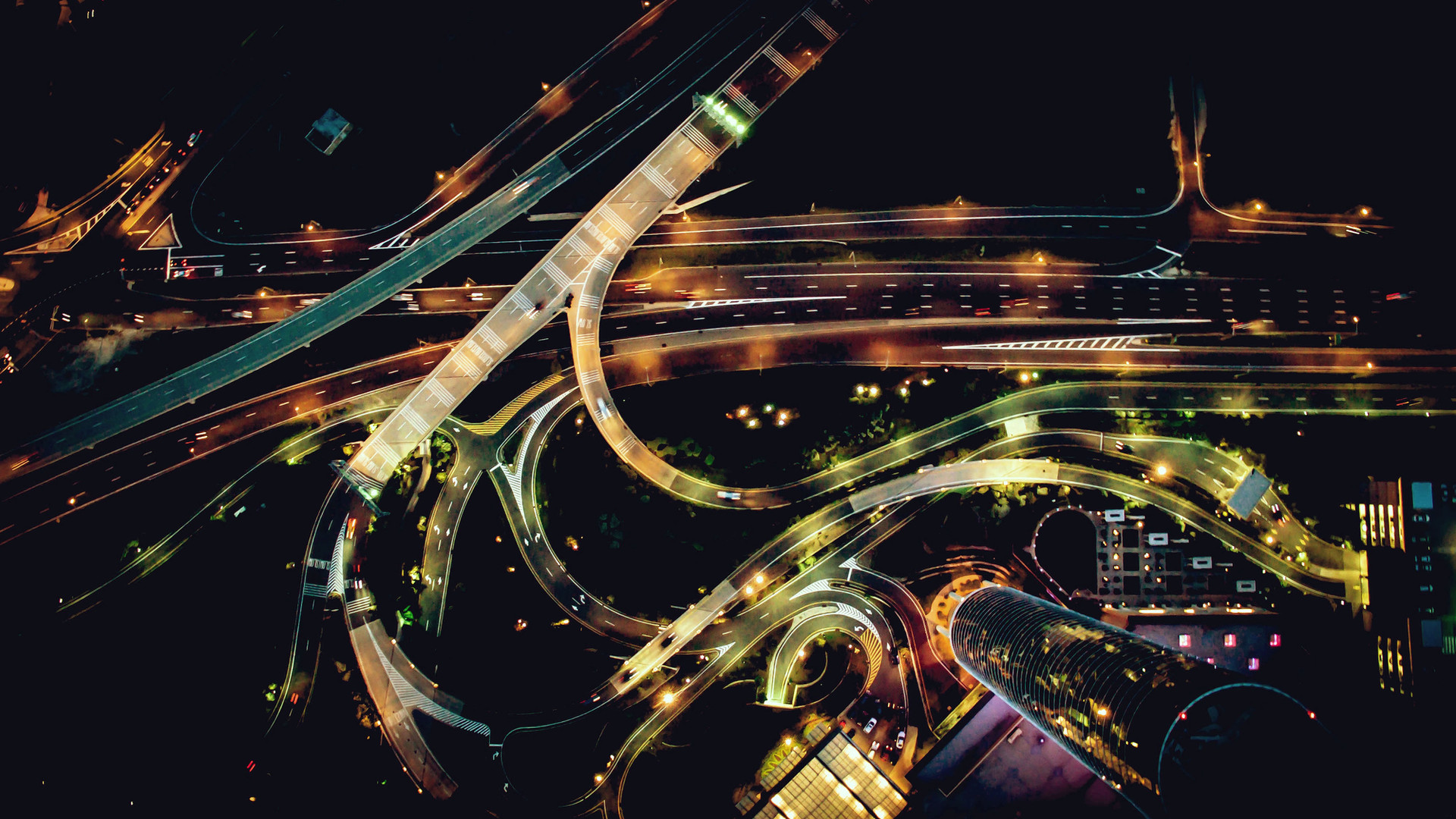 Nightimt aerial view of road junction