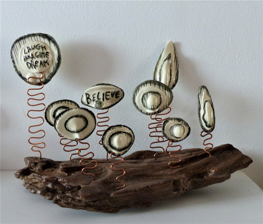 White earthenware and driftwood sculpture £45-sold