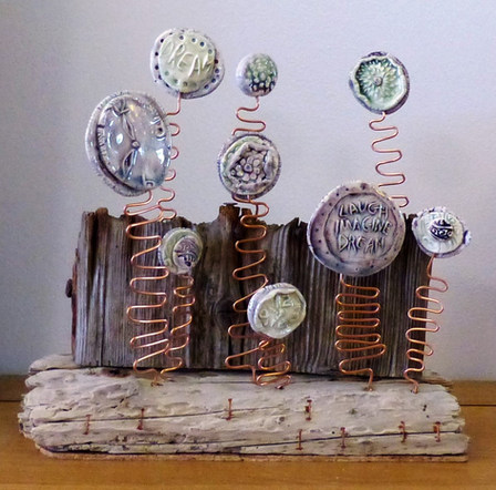 Clay/copper wire and driftwood sculpture £45-sold