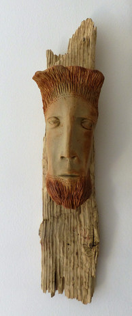 Stoneware face on Wivenhoe driftwood £150