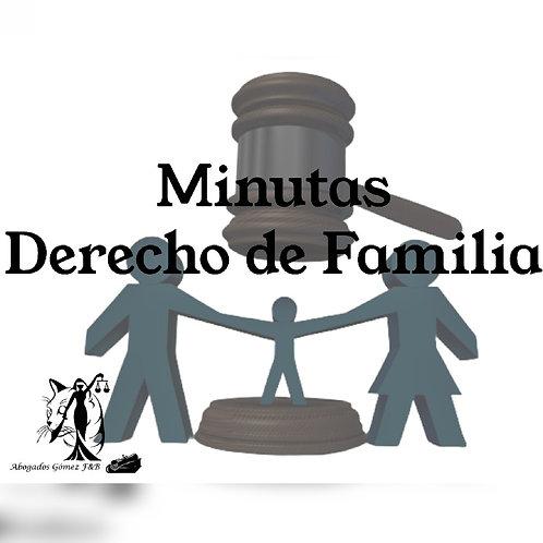 Minutas en derecho de familia