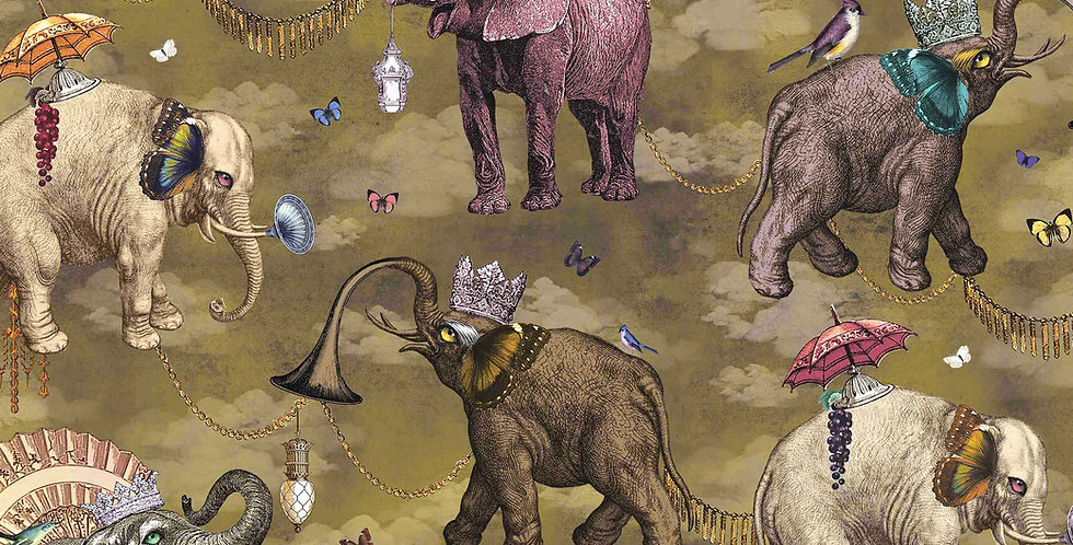 Wallpaper Elephant's March - Coriander