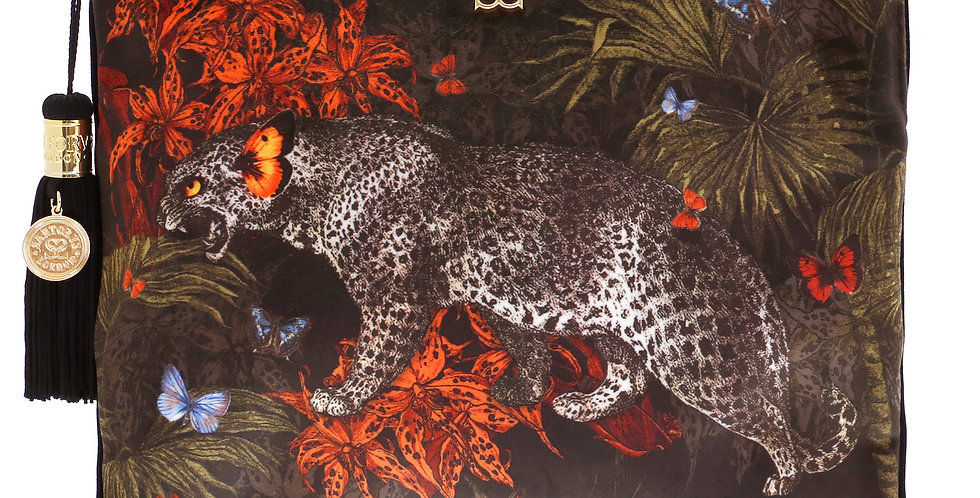 'Leopard' Large Velvet Pouch