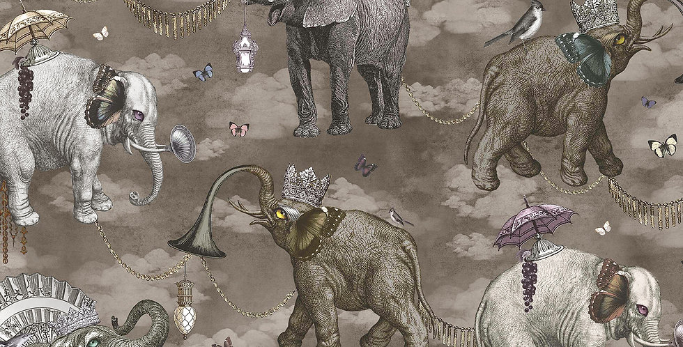 Wallpaper Elephant's March - Argentum