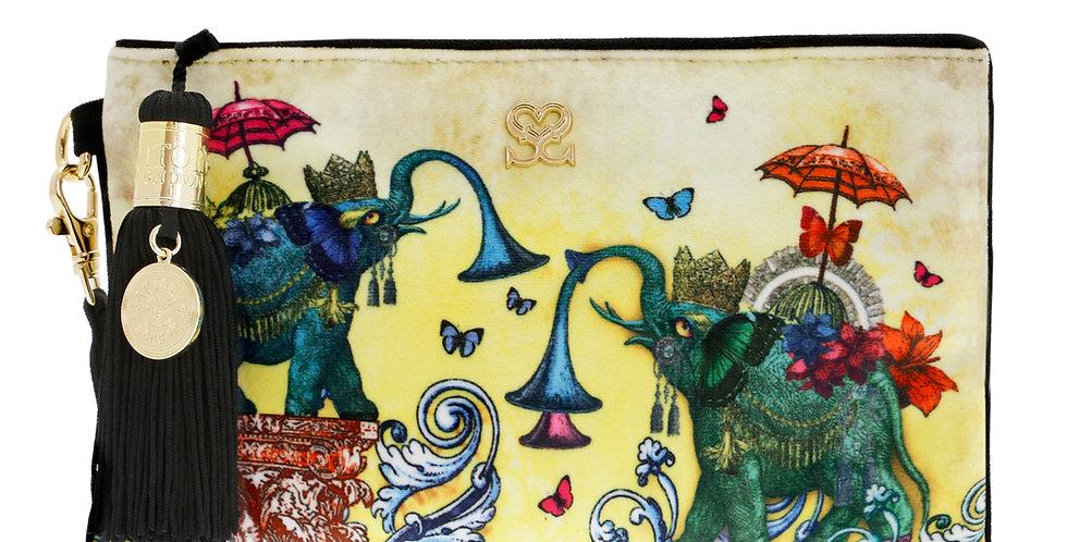 'Elephants' Velvet Mini Clutch