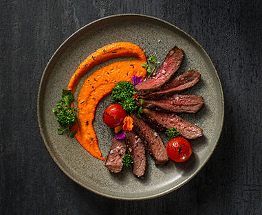 Bison Striploin with Romesco Sauce and R