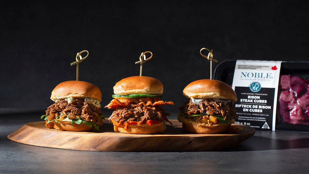 Pulled Bison Sliders made from Slow Cooking Noble Premium Bison Steak Cubes, 100% pure bison.