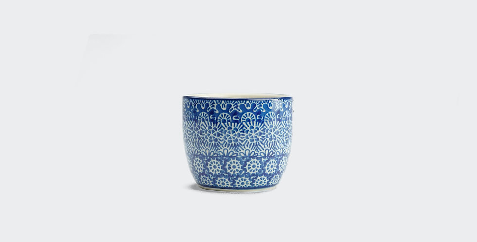 Small Cup in Blue Trellis
