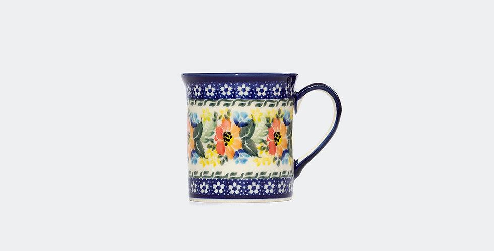 Handmade Flower Pattern Mug, Polish Pottery