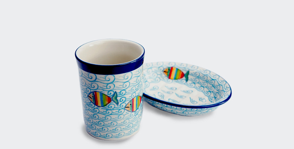 Soap Dish and Toothbrush Mug Set in Fishes